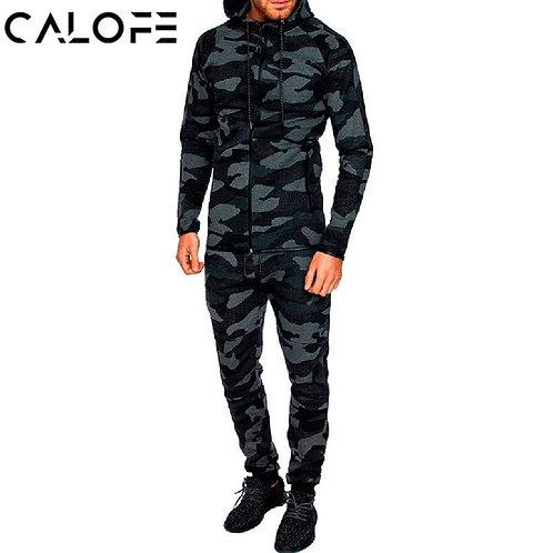 2018 Autumn Men Fitness Tracksuit Sport Set Camo Printed Hoodies Coat + Pants Sp