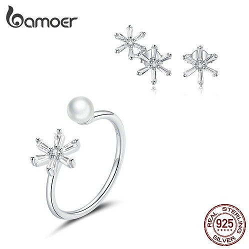 bamoer 925 Sterling Silver Dazzling Snowflake Finger Rings and Earrings Jewelry
