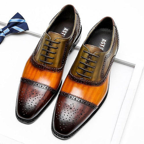 Phenkang Men Genuine Wingtip Leather Oxford Pointed Toe Laces Up Oxfords Dress B