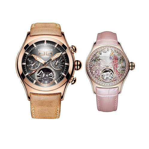Reef Tiger Aurora Air Bubble II Rose Gold Automatic Mens Watch And Aurora Parrot