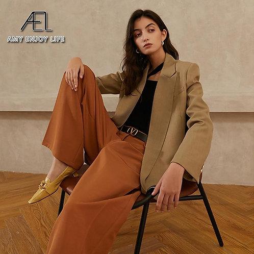 AEL Spring Autumn Blazer Women Fashion Big Lapel Loose Tops Coat Cool Streetwear