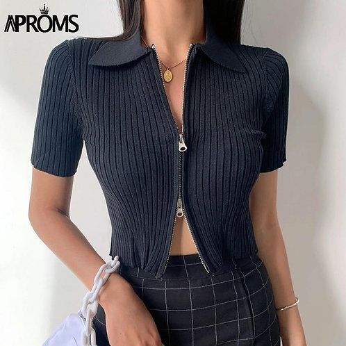 Aproms White Ribbed Knitted Crop Top Female High Waist Short Sleeve Basic T-shir