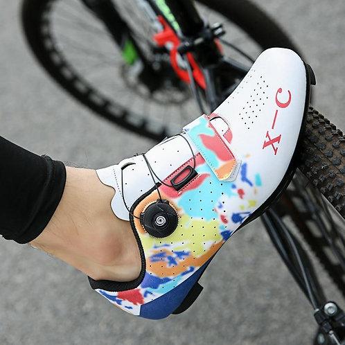 Men Graffiti Cycling Shoes Road Bike Bicycle Shoes Ultralight Athletic Triathlon