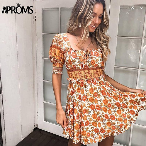 Aproms Boho Square Neck Floral Print Summer Dress Women Ruffle Puff Sleeve Short