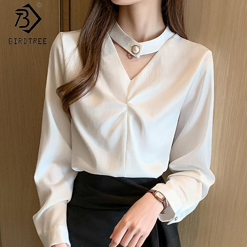 2020 Spring New Women's Office Lady Solid Button Shirt Fashion Long Sleeve V-Nec