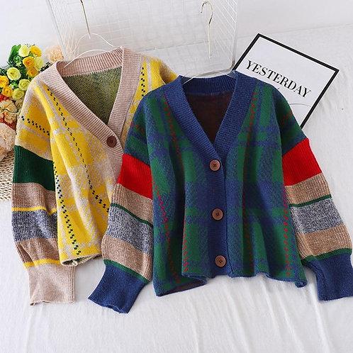 Autumn New Plaid Cardigans Retro V-neck Single-Breast Sweater Women Loose Lazy K
