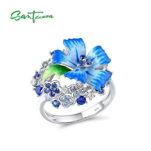 SANTUZZA Silver Rings For Women Genuine 925 Sterling Silver Delicate Blue Flower