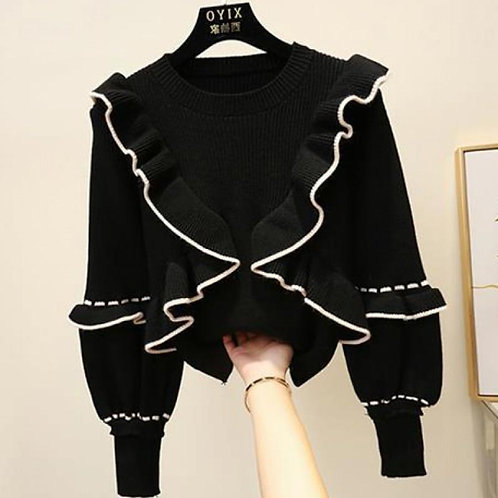 Autumn Winter Women Top Korean Style Ruffle Stitching Fungus Pullover Sweater Ne