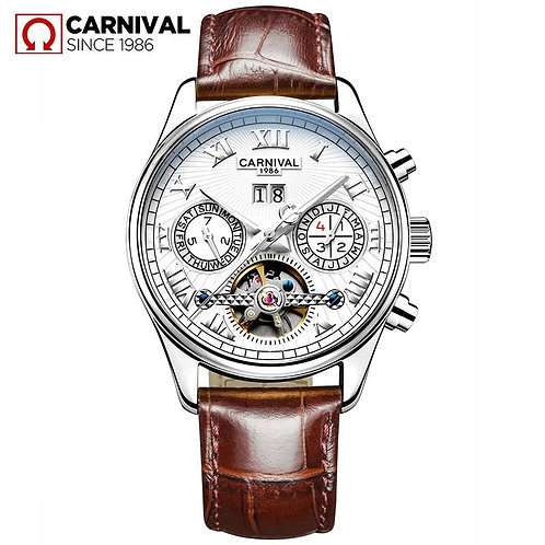 CARNIVAL Skeleton Mechanical Watch Men Hollow Fashion Luxury Leather Men Automat