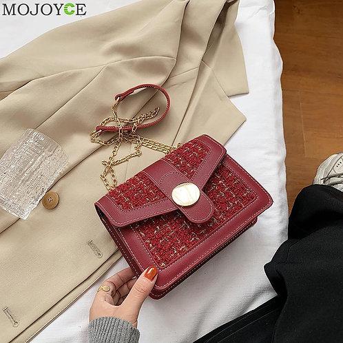 Casual Woolen Crossbody Bags Female Chain Flap Shoulder Handbags Commuter Pouch