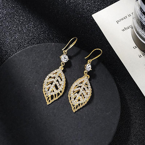 2020 New Arrival Vintage Crystal Zircon Crystal Leaf Dangle Earrings For Women E