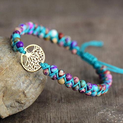 Men Women Bracelet Tree Charm Imperial Jaspers String Braided Bracelets Spiritua
