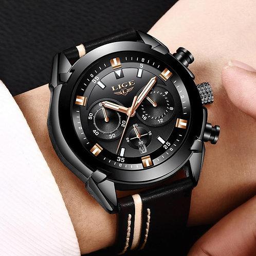 Cool design fashion men waterproof Quartz watch luxury Genuine leather band men