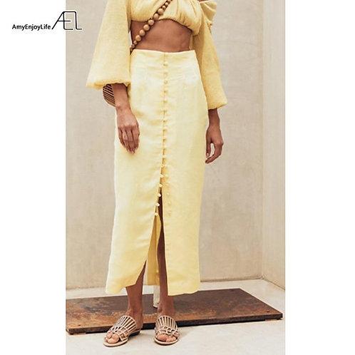 AEL 2019 Summer Women High Waist Button Bodycon Maxi Skirt Yellow Long Skirts Ki