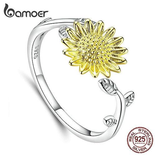 bamoer Genuine 925 Sterling Silver Sunflower Finger Rings for Women Wedding Band