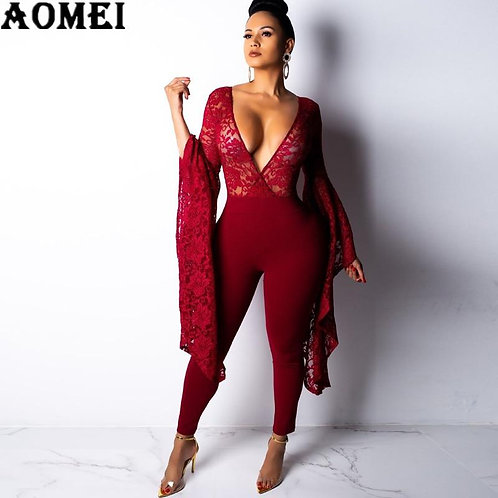 Women Lace Overalls Jumpsuits Deep V Neck Long Loose Flare Sleeves Sexy Lady Sli