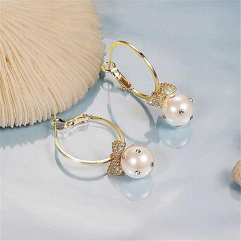 2020 New Arrival Trendy Simulated-pearl Bow Circle Long Tassel Dangle Earrings F
