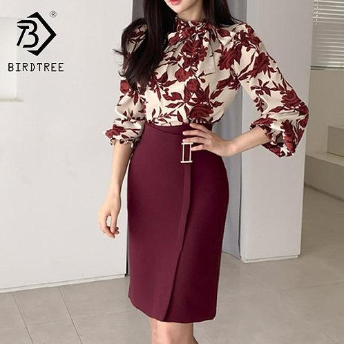 2020 Spring Women Suits Print Long Lantern Sleeve Shirt Slim Fit Hip Mini Skirt
