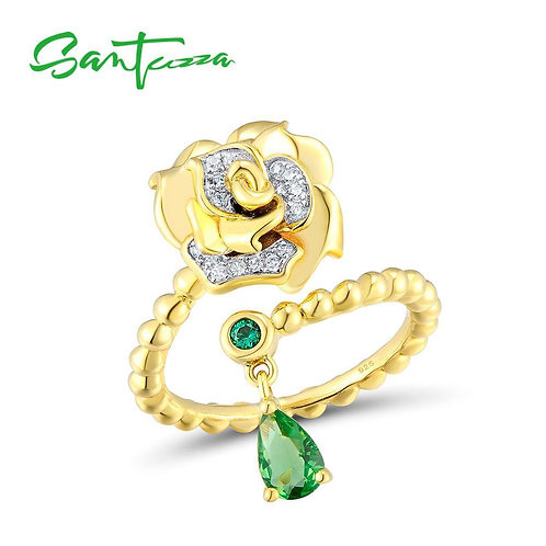 SANTUZZA 925 Sterling Silver Chic Ring Green Glass Green White CZ Stones For Wom