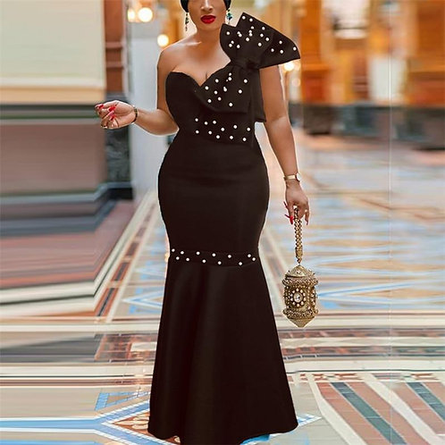 Black Long Tube Tops Party Dress Sexy Big Bowtie Beading Event Occasion Women Ma