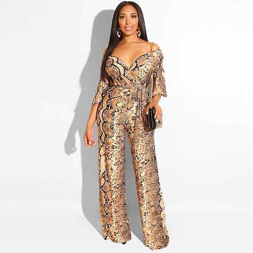 2020 Summer Jumpsuit Snake Printed Sexy V Neck Half Sleeves Wide Leg Fashion Ove
