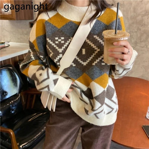 GAGANIGHT Casual Knitted Sweater O-Neck Print Plaid Print Sweater Office Lady Lo