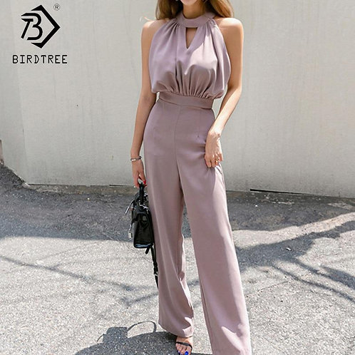 2020 Summer New Women's Korean Style Neck Jumpsuits Slim Waist Sleeveless Off Sh