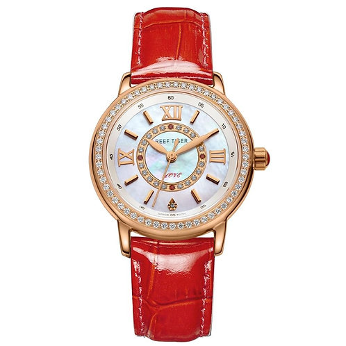 2020 Reef Tiger/RT Luxury Brand Casual Women Watches Red Leather Strap Waterproo