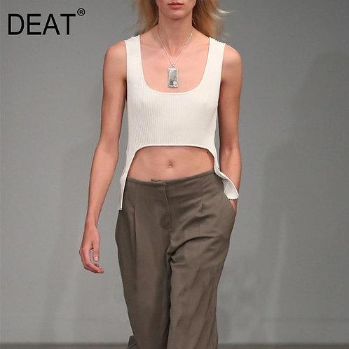 DEAT 2020 Square collar sleeveless knitting slim elastic short T-shirt female to