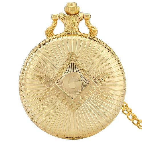 Gold Freemasonry Design Souvenir Antique Pocket Watches Quartz Movement Pendant