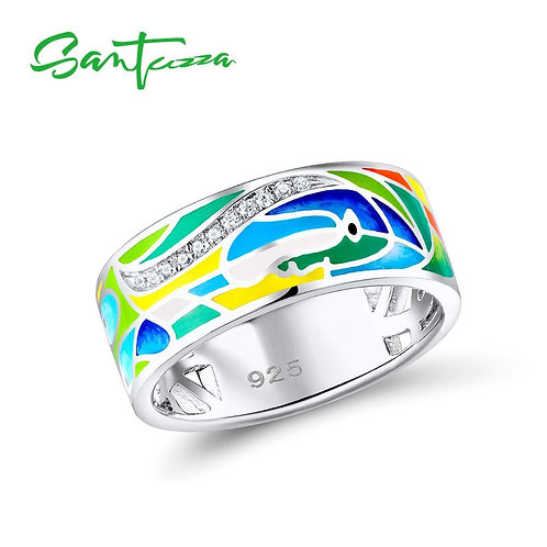 SANTUZZA Silver Ring For Women 925 Sterling Silver Face Rings for Women Shiny Wh