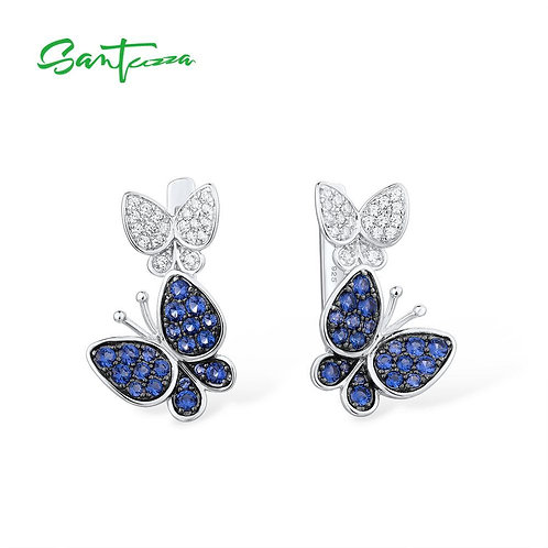 SANTUZZA Silver butterfly Earrings for Women Blue White Cubic Zirconia Women Ear
