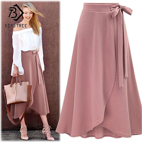 2018 Women Skirts Summer New Arrival Asymmetrical Slim High Waist Solid Lace Up