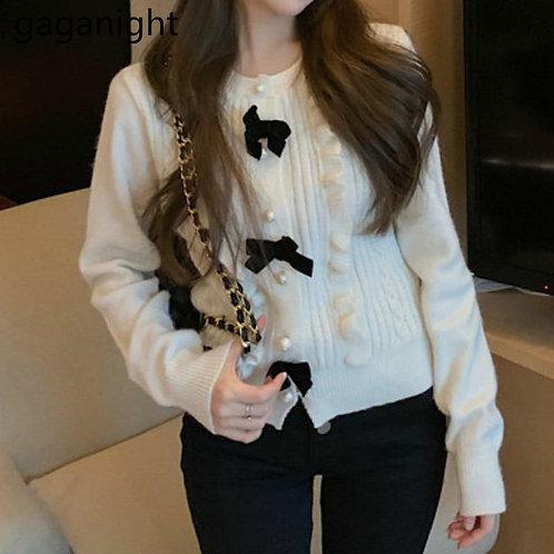 Gaganight Sweet Women Crop Cardigan Autumn Winter Fashion Solid Outwear Kardigan