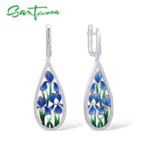 SANTUZZA Silver Flower Earrings For Women 925 Sterling Silver Dangle Blue Petal