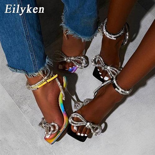 Eilyken Size 35-42 Rhinestone Bowtie Spike Heel Women's Sandals Square toe Narro