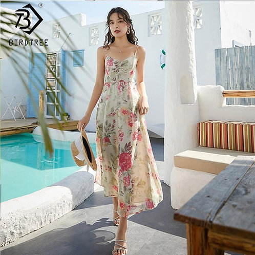 2020 Summer New Women's Floral Print Beach Dresses For Vacation V-Neck Sleeveles