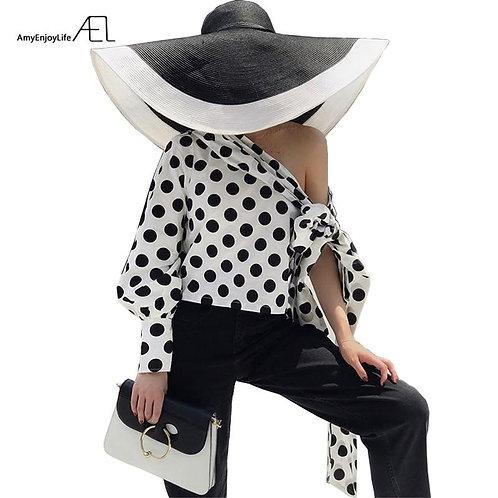 AEL Off Shoulder Slope Long Sleeve Top 2018 Women Sexy Fashion Single Sleeve Blo