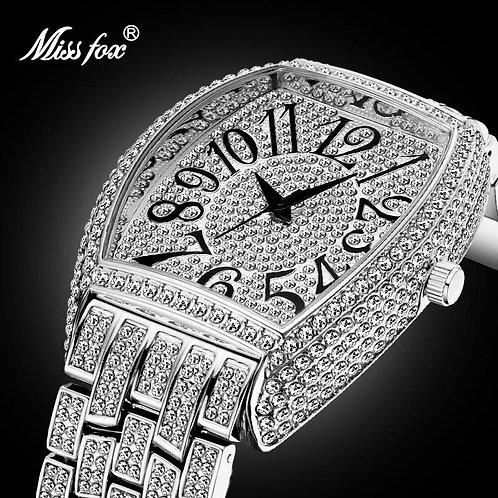 Dropshipping Arabic Numerals Mens Watches Top Brand Luxury Silver Watch Men Diam