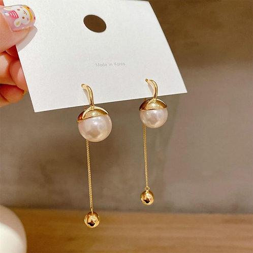 2020 New Korean Trendy Simulated-pearl Round Tassel Long Dangle Earrings For Wom