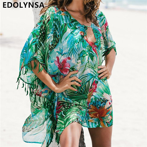2020 Tunic for Beach Bathing suit cover ups Chiffon Beach Dress Women Beachwear