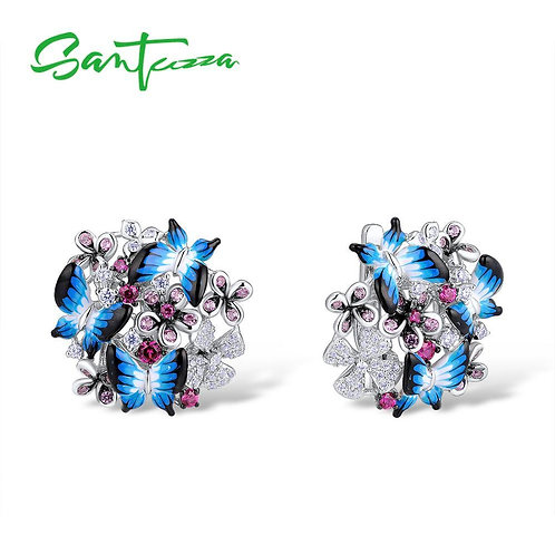 SANTUZZA Silver Earrings For Women 925 Sterling Silver Earrings Cubic Zirconia D