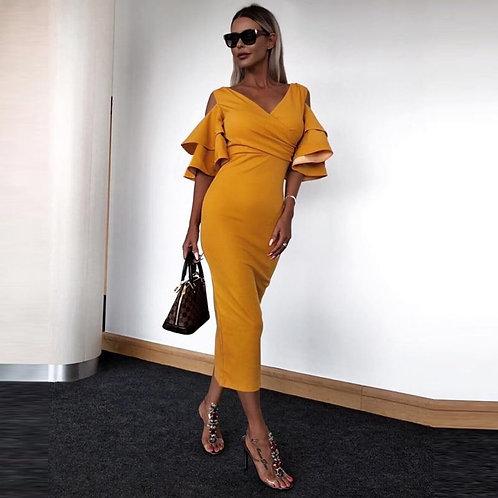 2019 Women Long Dress Autumn Maxi Dress Solid Women Bodycon Night Club Party Pen