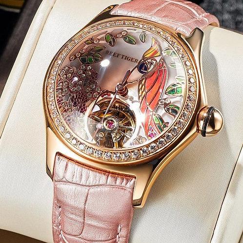 2020 Reef Tiger/RT Womens Luxury Fashion Watches Diamond Automatic Tourbillon Wa