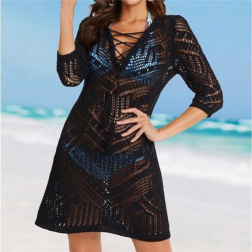2020 Crochet Black Knitted Beach Cover up dress Tunic Long Pareos Bikinis Cover