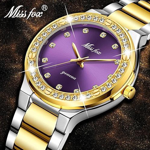 MISSFOX Women Quartz Watches Business Bracelet Purple Dial Beaute Wrist Ladies W