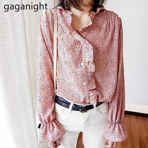 Gaganight Sweet Women Japan Style Blouse Chiffon Long Sleeve Ruffles Chic Lady P