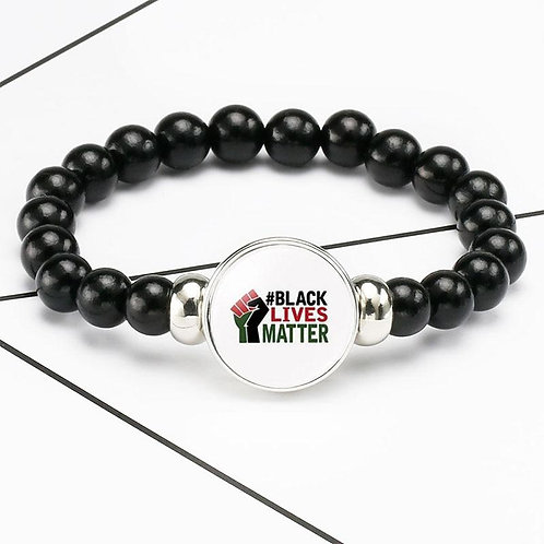 Black Lives Matter Beaded Bracelet George Floyd Protest Glass Dome Snap Buttons