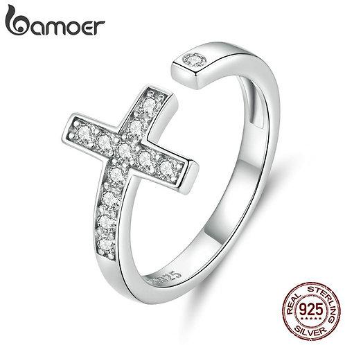 bamoer Genuine 925 Sterling Silver Shine Cross Finger Rings for Women Wedding Ba