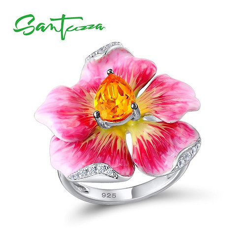 SANTUZZA Women's Ring Pure 925 Sterling Silver Ring Flower Ring Luxury For Women